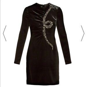 Valentino Black velvet mini snake dress